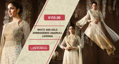 White and Gold Embroidered Anarkali Lehenga Buckle up for a style ride in this white and gold #EmbroideredAnarkaliLehenga. #FashionGram #Style #Lashkaraa #EthnicLove  Shop At: https://www.lashkaraa.com/white-and-gold-embroidered-anarkali-5516.html