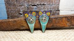 Enameled Earring Charms Points in Turquoise and by BlueHareArtWear