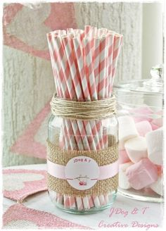 Match in your colour theme with coloured paper straws. Place in a jar so guests can help themselves throughout the day.