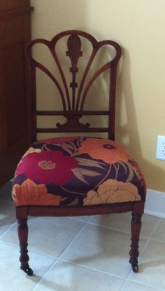 1800's chair redone with modern floral fabric