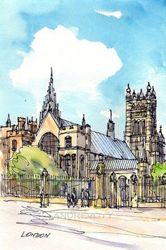 London Westminster Abbey 12 x 8  print of watercolor by AndreVoyy, $20.00