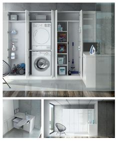 Do you need a washing and ironing area at home We propose you a solution co Laundry Cupboard, Laundry Cabinets, Laundry Closet, Laundry Room Storage, Laundry Room Design, Laundry In Bathroom, Kitchen Design, Interior Design Living Room, Living Room Designs