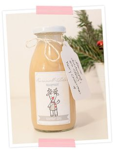 Leckerer weihnachtlicher Karamell-Likör. Mit Rezept und Etiketten zum Ausdrucken. Ein ideales Geschenk!