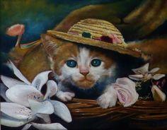 Gato de chapéu. Óleo sobre tela. Pintura a óleo.  Leonardo Rodrigues.