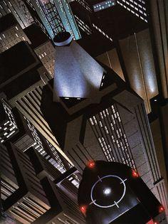 "Batman and Art Deco - Batman the Animated Series or Blade Runner? A stunning deco/noir (aka ""Dark Deco"") animation cell."