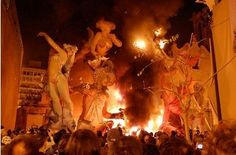 Las Fallas, meaning 'the fires' in Valencian, is an especially exciting and unique Spanish festival. This celebration lasts from March 13-19. The Fallas are characters usually associated with current political or social affairs. They are made of paper mache, wood and wax, and are lit on fire on the last day of the festival. Although the origin of the celebration is unknown, it is theorized that the tradition arose in the Middle Ages, when carpenters lit bonfires on St Joseph Day. #2B