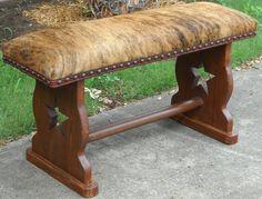 Rustic Cowhide Star Bench