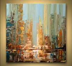 ORIGINAL City Painting Modern Acrylic Palette by OsnatFineArt