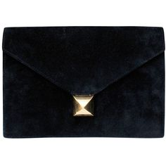 Pre-owned Black Suede Clutch Hermes Collection Collier de Chien ($1,071) ❤ liked on Polyvore featuring bags, handbags, clutches, evening bags and minaudières, handbags and purses, pre owned handbags, evening hand bags, black handbags, evening handbags ve hermes handbags