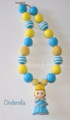 Cinderella princess chunky bead necklace Disney inspired bubblegum necklace on Etsy, $18.00