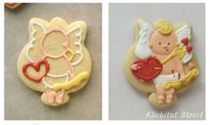 Three cupid designs, decorated cookies made with tulip cookie cutter by Sarah (Klickitat Street)