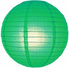 "8"" Emerald Green Round Paper Lantern, Even Ribbing, Hanging Decoration"