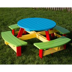 Painted Wooden Garden Bench for Pre-Schools and Nursery Schools bench Painted Nursery and Pre-School Garden Bench years Wooden Garden Benches, Garden Seating, Garden Table, Outdoor Seating, Backyard Sheds, Outdoor Sheds, Kids Furniture, Garden Furniture, Round Picnic Table