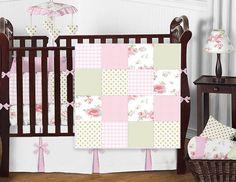 Sweet Jojo Vintage Patchwork White Pink Flower Baby Girl Bedding 9 Pc Crib Set #SweetJojoDesigns Baby Girl Bedding, Baby Bedding Sets, Crib Sets, Nursery Bedding, Nursery Decor, Shabby Chic Green, Girl Cribs, Pink Flowers, Furniture