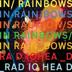 Radiohead's album IN RAINBOWS typography covers the typeface attributes. The repetitious album name on the cover cleverly create a rainbow image as each is a different color. Read more: http://www.andrewkelsall.com/in-rainbows-in-trend-in-typography/