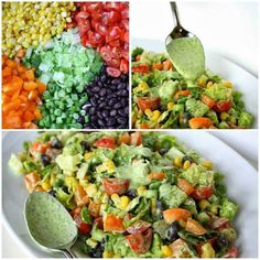 ~-=Southwestern Chopped Salad=-~ {Ingredients} Large head of oz. 1 can of black beans, rinsed and drained 1 large orange bell pepper 1 pint cherry tomatoes 2 cups corn (fresh or frozen, thawed) 5 green onions Optional: avocado Southwest Chopped Salads, Southwestern Salad, Southwestern Chicken, Southwest Style, Healthy Salads, Healthy Eating, Healthy Recipes, Healthy Foods, Clean Eating