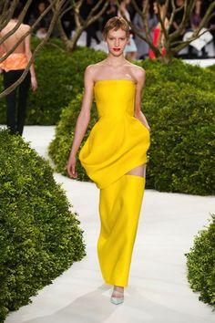 Dior Couture Spring - Lemon Yellow Asymmetrical Gown