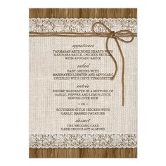 Rustic Burlap Wedding Menu Cards With Lace and Twine