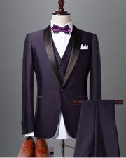 Classyby Dark Purple Shawl Lapel Black Wedding Tuxedo For Men