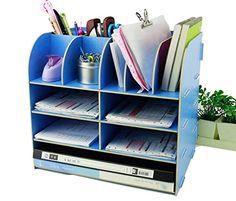Menu Life Office Supplier Storage Cabinet Wooden Desk Storage Box Pen Pencil Holder Stand (Light Blue)