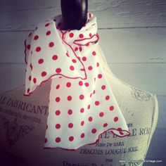 Vintage Scarf  White and Red POLKA DOT by runaroundsuevintage, $10.00