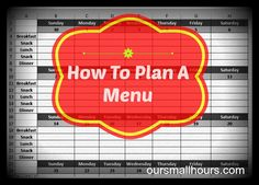 This is something I need to work on! How to plan a menu