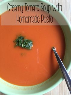 Creamy Tomato Soup with Homemade Pesto ~ a tasty vegetarian recipe perfect for summer as a simple lunch or dinner idea | 5DollarDinners.com