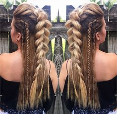 /braidsandblush/ Faux Mohawk and side braids! Festival hair boho up do up styles braids