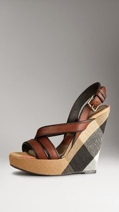 Burberry ~ Canvas Check Leather Platform Wedge 2015
