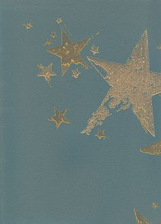 All Star Wallpaper A grey teal wallpaper with gold stars, that have a potato cut out look.  Library room