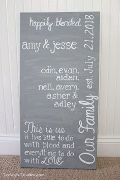 DIY Blended Household Signal Hand Lettered Wedding ceremony Present