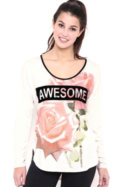 Long Sleeve Floral Top with Awesome Screen