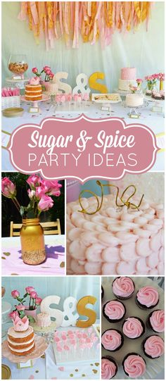 Such a pretty pink and gold, sugar and spice themed first birthday party!  See more party ideas at CatchMyParty.com!