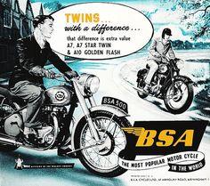 Affiche BSA Twins 1954 Garage Atelier Vintage par frenchprintorama