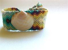 RockaBella Friendship Bracelet  color: pupu-shell aqua combo