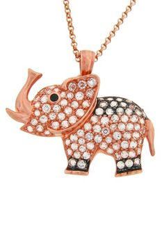 Rose Gold Vermeil Pave Elephant Pendant Necklace by Dazzling Jewelry Treasures on @HauteLook