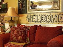 Paint a Welcome sign in a guest room, great idea!