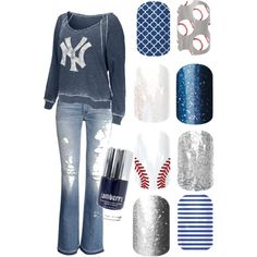 Batter up New York Yankee fan with Jamberry nail wraps. #7thinningstretch #inthegame #naildesign #nailswag #love