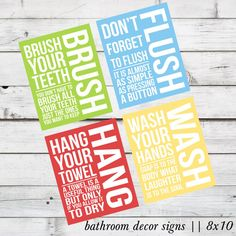 INSTANT DOWNLOAD - Brush, Flush, Hang, and Wash Bathroom Decor DIY Printable Signs on Etsy, $10.67 CAD -powder room