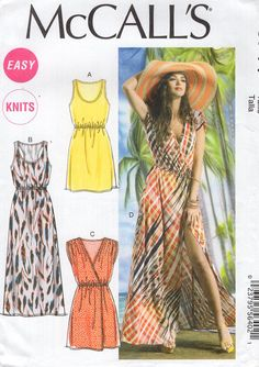 McCall's 6744 Free Us Ship Sewing Pattern Loose Fitting Pullover Dress Summer Mini Maxi Beach Size 16/26 Bust 38 40 42 44 46 48 plus size by LanetzLiving on Etsy