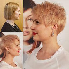 Long to short. Pixie cut. Rosegold short hair. Fine cut