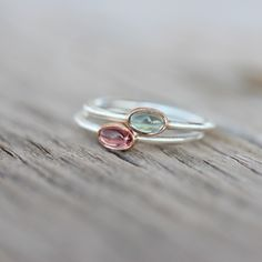 Tiny Tourmaline Rose Gold Silver Ring Pink Blue-Green Watermelon - Tsamma by NangijalaJewelry on Etsy https://www.etsy.com/listing/197567832/tiny-tourmaline-rose-gold-silver-ring