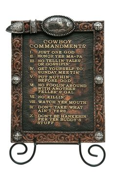 M&F Western Products® 2-Piece Cowboy Commandments & Easel