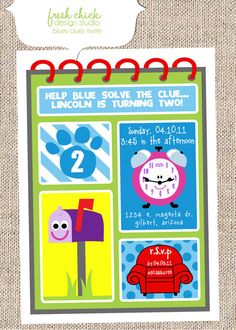 Blues Clues party invite.