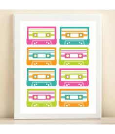 """neon retro """"mix tapes"""" print poster. did you know they took """"cassette tape"""" out of the dictionary recently?!"""