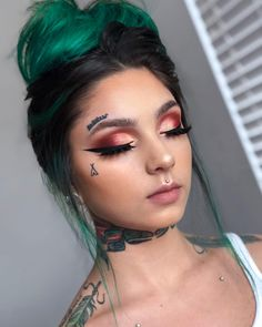 Small Face Tattoos, Face Tats, Face Tattoos For Women, Girl Face Tattoo, Girl Neck Tattoos, Face Piercings, Piercings For Girls, Dope Tattoos, Cute Small Tattoos