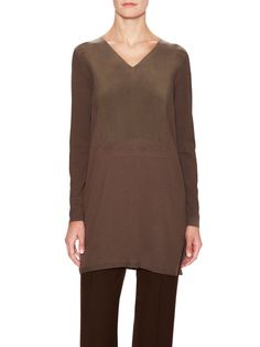 V-Neck Needle-Punch Tunic with Sand-Washed Silk Panel from Lafayette 148 New York on Gilt