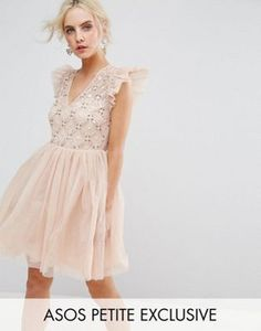 ASOS PETITE Pretty Embellished Tulle Mini Dress