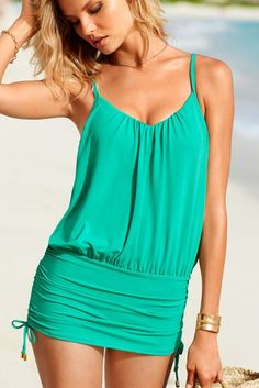 Green V-neckline Ruched One-piece Swimsuit