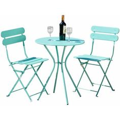 RST Brands Sol 3-Piece Bistro Set, Aqua Blue